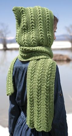 Knitting Pattern for Mommy and Me Reversible Hood - Love the texture of these hoods that are sized for tweens and teens up through adults.