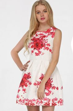 White Sleeveless Vintage Floral Slim Dress