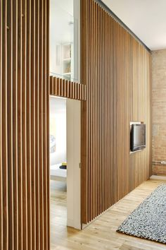 Apartment at Bow Quarter / Studio Verve Architects Why woodn't you want to live here? Apartment at bow quarter by studio verve architects. Wood Slat Wall, Wood Slats, Wood Paneling, Paneling Ideas, Timber Panelling, Timber Walls, Wooden Walls, Wooden Wall Design, Plywood Walls