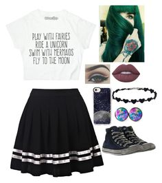 """outfit 185"" by wonton-the-panda-dragon on Polyvore featuring Lime Crime, Casetify and Converse"