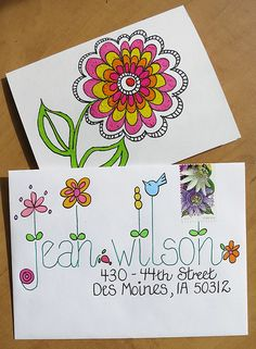 Great lettering on snail mail envelope Mail Art Envelopes, Addressing Envelopes, Fancy Envelopes, Envelope Art, Envelope Design, Envelope Lettering, Letter Writing, Letter Art, To Do Planner