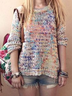 Shop Multicolor Tie Dye Knitted Loose Sweater from choies.com .Free shipping Worldwide.$18.9