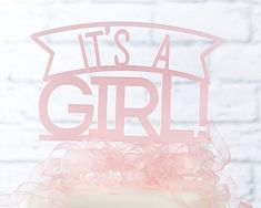 It's a Girl Acrylic Cake Topper-At your baby shower or big gender reveal party, get all your guests excited with Kate Aspen's It's A Girl Acrylic Cake Topper! This cute cake topper is made from sturdy pink acrylic, and features a clear stem to allow Elephant Cookie Cutter, Elephant Cookies, Wedding Shoppe, Wedding Favors, Cheer Cakes, 1st Birthday Cake Topper, Love Cake Topper, Acrylic Cake Topper, Girl Cakes
