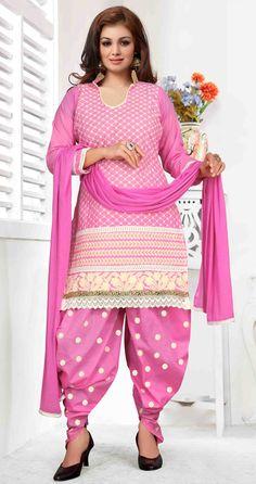 USD 25.87 Ayesha Takia Pink Cotton Punjabi Suit 47249