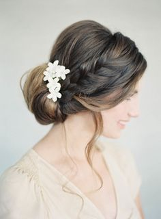Gorgeous low bun. | mysweetengagement.com