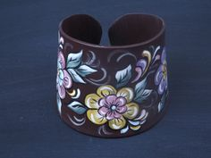 Handpainted Upcycled Record Cuff Bracelet by UPCYCLEDDREAMS