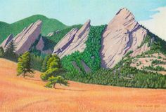 Impression Evergreen: The Flatirons - Colored Pencil Drawing