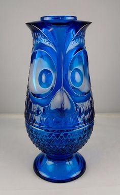 Vintage Viking Turquoise Blue Owl Glass Fairy Lamp Excellent #Viking