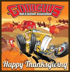 Happy Thanksgiving Hot Rods Cars Muscle Car Cartoon Happy Thanksgiving