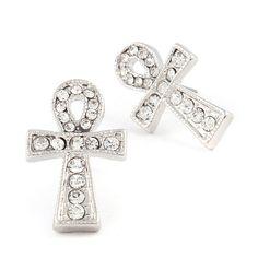 Joji Boutique - bejeweled silver egyptian ankh post earrings
