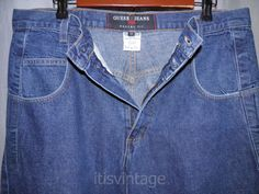 Vintage-1990-039-s-Guess-Pascal-075-Denim-Jeans-Tapered-Leg-Loose-Fit-34x31-actual