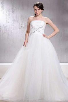 FANNY - A-line Strapless Chapel train Tulle Wedding dress