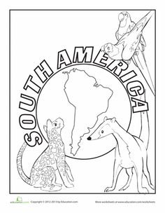 Henry the Castaway - Worksheets: South America Coloring Page
