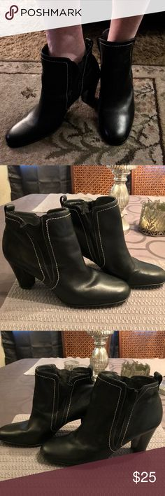 Connie Eureka bootie Black Connie eureka upper leather bootie. 9 w. made in Brazil. Great quality boot. Worn few times. Small scuff on toes can be buffed out with polish. Slight wear in elastic on sides from slipping on and off and from being in my closet. Great condition barely any wear on soles. Smoke free pet free home! connie Shoes Ankle Boots & Booties