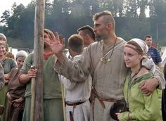 Slavic clothing (c. 10th century). Feast in Trzcinica, Poland.