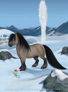Wodan - Bella Baby by soelver on DeviantArt Bella Sara, Horse Cartoon, Winged Horse, Golden Design, Cute Ponies, Horse Artwork, Animal Games, Pretty Horses, Magical Creatures