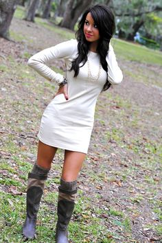 Sweater dress, knee high boots, knee high socks, jewelry. Love this.