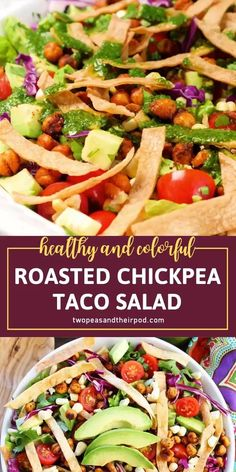 Taco Salad Recipes, Vegetarian Salad Recipes, Summer Salad Recipes, Salad Recipes For Dinner, Dinner Salads, Healthy Recipes, Spring Recipes, Spring Meals, Taco Salads
