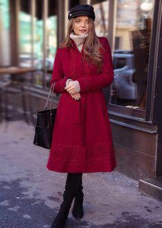 Palton Teresa Rosu • Chic Diva  realizat din stofă cu 20% lana Diva, Superhero, Chic, Fashion, Shabby Chic, Moda, Elegant, Fashion Styles, Divas