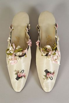Satin mules with ribbon trim. French, 1900-20