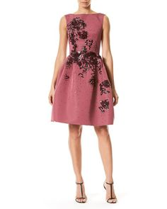 Sleeveless+Floral-Embellished+Party+Dress,+Wine+by+Carolina+Herrera+at+Neiman+Marcus.