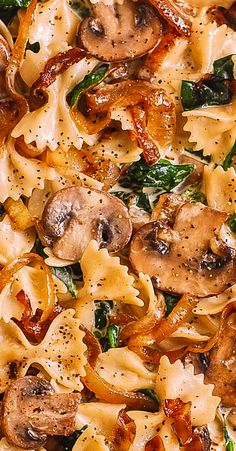 Creamy Bow Tie Pasta with Spinach, Mushrooms, Caramelized On.- Creamy Bow Tie Pasta with Spinach, Mushrooms, Caramelized Onions Beef Recipes, Italian Recipes, Vegetarian Recipes, Chicken Recipes, Cooking Recipes, Healthy Recipes, Healthy Chicken, Meatless Pasta Recipes, Vegetarian Pasta Dishes