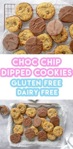 My gluten free choc chip cookies recipe is probably my BEST cookie recipe yet! But it's even better with a chocolate dipped base! It can also be made dairy free if you fancy too. Chip Cookie Recipe, Best Cookie Recipes, Chip Cookies, Baking Recipes, Dairy Free Options, Dairy Free Recipes, Gluten Free Cookies, Gluten Free Baking, Dairy Free Chocolate Chips