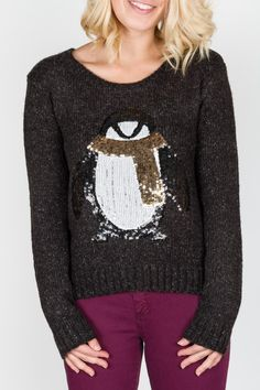 Cozy up to sequins this holiday season ;)  Penguin sweater, $99