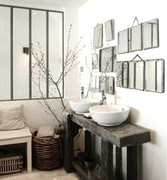 Primitive bathrooms 479351954068604793 - 465 × 502 pixels Source by sjouve Laundry In Bathroom, Small Bathroom, Neutral Bathroom, Bathroom Mirrors, Primitive Bathrooms, Interior Decorating, Interior Design, Bathroom Inspiration, Sweet Home
