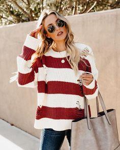 bd66f2691b37 Nutcracker Distressed Chenille Striped Sweater. VICI