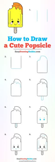 How to Draw a Cute Popsicle – Really Easy Drawing Tutorial - Gardening Easy Chalk Drawings, Cute Food Drawings, Easy Drawings For Kids, Art Drawings Sketches Simple, Drawing For Kids, Kawaii Drawings, Drawing Ideas, Easy Drawing Tutorial, Food Drawing Easy