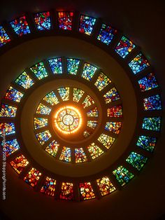 The Glory Window, a spiral of stained glass windows in the dome of the Thanksgiving Square Chapel in Dallas, Texas.  The chapel was designed by Philip Johnson, and dedicated in 1976.