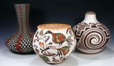 Traditional Acoma pottery is made using a slate-like clay found within the hills surrounding the Pueblo. When fired using traditional methods, this clay allows