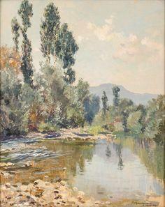 """ILIO GIANNACCINI (Roma 1897 – 1968) OLIO su tavola """"veduta di entro terra""""."""