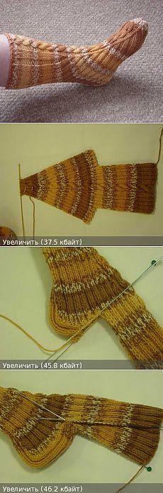 Носки, связанные на двух спица