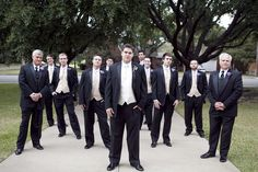 Adding Fathers & Mothers of both the Bride and Groom into pictures with the groomsmen and bridesmaids.--- LOVE the staggered look.