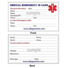 Medical Emergency Wallet Card For Alert Id Bracelets And Dog Tags