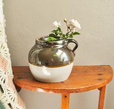 Vintage Stonewear Beanpot with Metallic Glaze by drowsySwords on Etsy