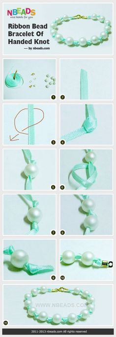 making ribbon and pearl bracelet:
