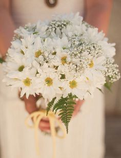 White daisies, baby's breath, and fern bouquet. Almost just like my wedding bouquet! Neutral Wedding Flowers, Cheap Wedding Flowers, Wedding Table Flowers, Flower Bouquet Wedding, Flower Centerpieces, Flower Decorations, Wedding Decorations, Wedding Centerpieces, Fern Bouquet