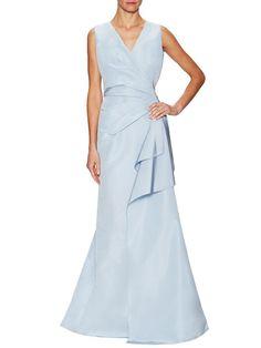 Silk Pleated Floor Length Gown by Carolina Herrera at Gilt