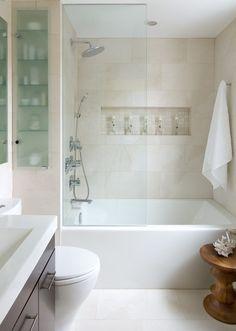 Glass bubble tile bathroom contemporary with shower shelf small bathroom