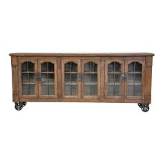 Louie Natural Wood/ Glass 6-door Cabinet | Overstock.com Shopping - The Best Deals on Buffets