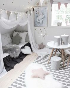 New Room Decor Ideas Bedroom Girls Bedding Ideas Gray Bedroom, Trendy Bedroom, Bedroom Bed, Home Decor Bedroom, Bedroom Girls, Bedroom Curtains, Wood Bedroom, Bedroom Furniture, Toddler Rooms
