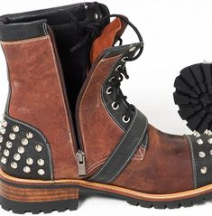 Rebelsmarket studded and belted contrast lace up zipper leather boots 395 boots 3