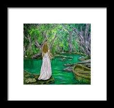 Framed print, painting, river,nature,trees,forestscape,woodland,landscape,riverscape,glade,water,bank,vegetation,flora,trunks,water,scenery,figurative,woman,girl,lady,female,feminine,fairy,fay,dress,boat,letter,tale,light,medieval,mystical,magical,mystery,enchanting,whimsical,romantic,poetic,atmospheric,moody,fantasylike,dreamlike,secret,green,white,vivid,shades,era,in,on,by,at,of,the,fine,art,oil,artworks,decor,artistic,items,products,for sale,fine art america,the secret