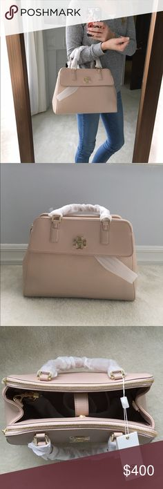 NWT Tory Burch Mercer Dome Bag Brand New with tags. Gorgeous soft lightly pebbled leather. Tons of space in this beauty. Large interior area with two zipper compartments on either side, and one exterior flat pocket. Sold out online. Also comes with a long strap for cross body wear. Color is light oak with gold accents. It's a combination of light pink and tan. Retail $535. No trades Tory Burch Bags Satchels