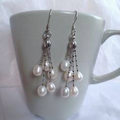 Pearl Chanelier Earring 67 mm white Pearl Dangle by Pearlalicious