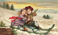 2 kinderen op een slee. Vintage Kerstkaart.