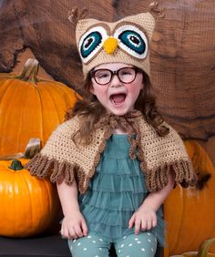 It's a Hoot Owl Hat & Cape Halloween Crochet Costume from Red Heart